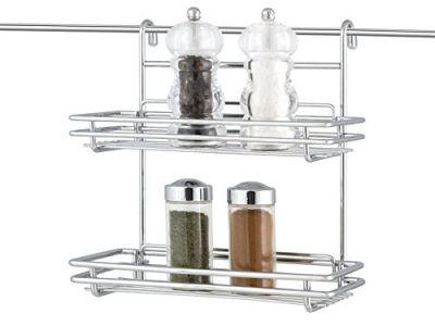 Mensola in acciaio cromato da cucina con 2 ripiani porta barattoli