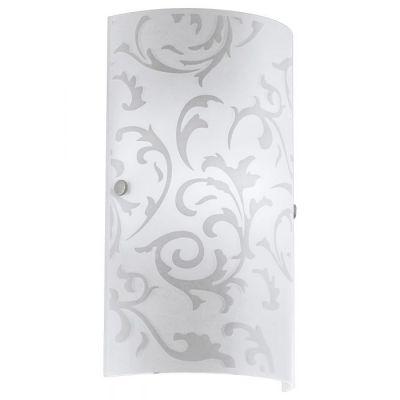 EGLO LAMPADA DA PARETE IN ACCIAIO COLOR NICKEL OPACO E VETRO STAMPATO 18X25 cm