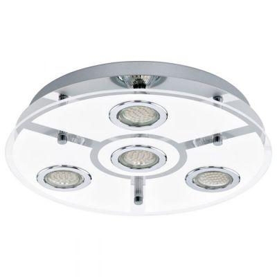 EGLO LAMPADA DA PARETE ROTONDA IN ACCIAIO INOX CROMATO E VETRO BIANCO DA 35 cm