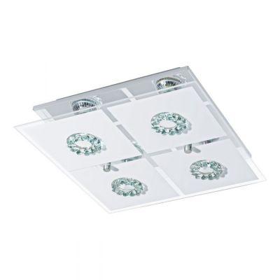 EGLO LAMPADA DA PARETE IN ACCIAIO INOX CROMATO E CRISTALLO SATINATO 31X8,5cm