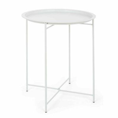 Bizzotto Tavolino Wissant Bianco con Vassoio removibile Ø46 con struttura in acciaio