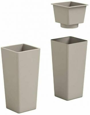 Veca vaso cache-pot quadrato alto resina vari colori 65 cm arredo giardino AVANA