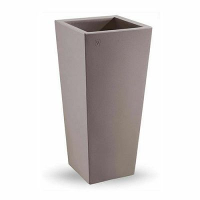 Veca vaso cache-pot quadrato alto resina vari colori  giardino arredamento H85cm  avana