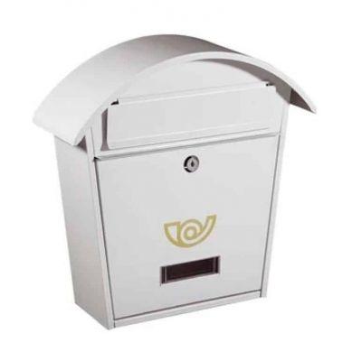 Porta lettere Cassetta della Posta con tettuccio chalet 25x10,5xh37 cm Bianco cassetta postale