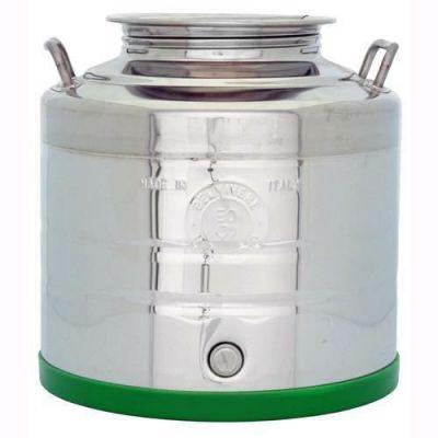 Fusto contenitore olio o vino fondo intero a pentola in acciaio inox 18/10 bocca larga 30Litri predisposto per rubinetto-BELVIVERE