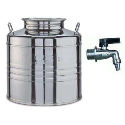 Fusto contenitore olio bidone Olivari lt 15 in acciaio inox 18/10 con rubinetto