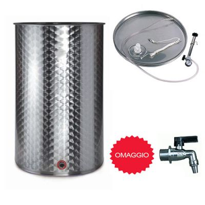Botte contenitore bidone  per olio o vino 200LT con rubinetto e galleggiante ad aria pneumatico