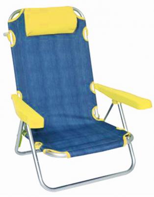 Spiaggina sdraio con struttura in alluminio e tessuto in jeans e blu 53x61x81cm