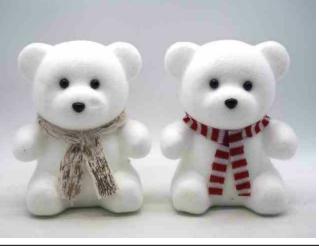 Orsetto bianco floccato con sciarpa decorazione natalizie H 19,5 x 15 cm