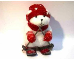 Orsetto grande sciatore con guanti sciarpa cappello floccati h. 40cm