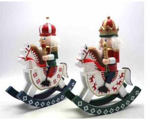 Soldato schiaccianoci in legno su cavalluccio a dondolo 30cm decorazioni natalizie