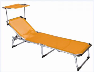 Sdraio spiaggina per mare con struttura in alluminio con parasole arancione richiudibile 186x61 cm