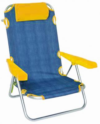Spiaggina sdraio con struttura in alluminio e tessuto in jeans arancione 53x61x81cm
