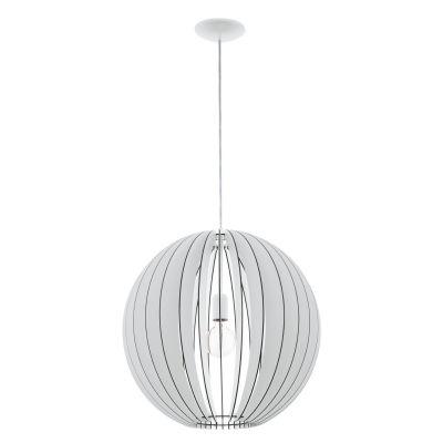 EGLO LAMPADA A SOSPENSIONE IN ACCIAIO E LEGNO BIANCO 50X150cm