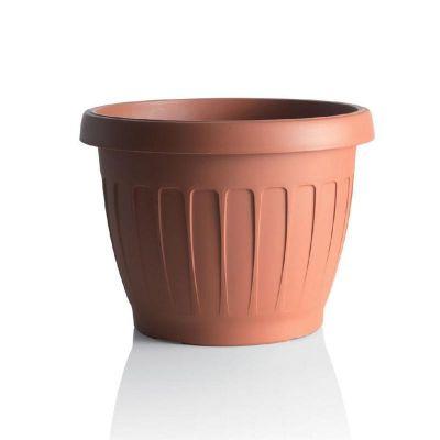 """Bama vaso da giardino tondo """"TERRA"""" in plastica 20 cm terracotta"""