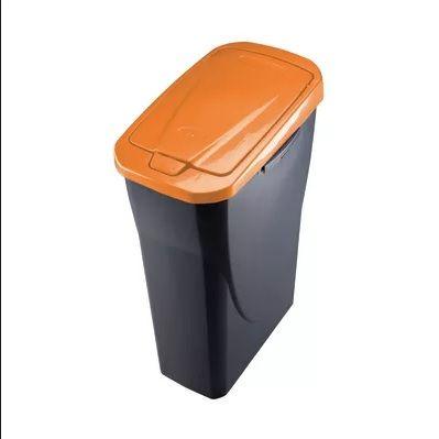 Contenitore in plastica con coperchio Ecobin 14 Lt-Arancio