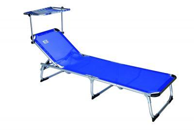 Sdraio spiaggina per mare con struttura in alluminio con parasole blu richiudibile 186x61 cm