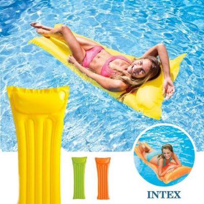 Intex materassino gonfiabile unica tinta colorato per piscina e mare 183X69 cm