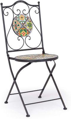 Sedia da esterno pieghevole Naxos acciaio e decoro in ceramica arredo da giardino Bizzotto