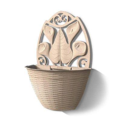 Bama Gerla Paglia vaso da parete in rattan vaso colore legno 32x16x42,5h