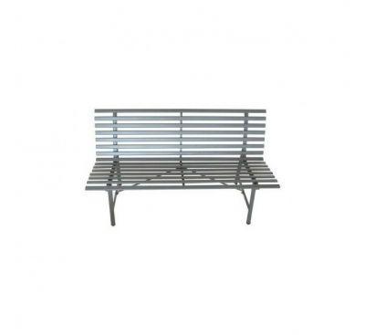 Panchina sedile in metallo verniciato grigio arredo esterno brooklyn outdoor bench