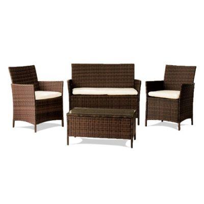 Set salottino da giardino in polyrattan marrone composto da 4 pezzi divano, tavolino e 2 poltrone arredamento da esterno