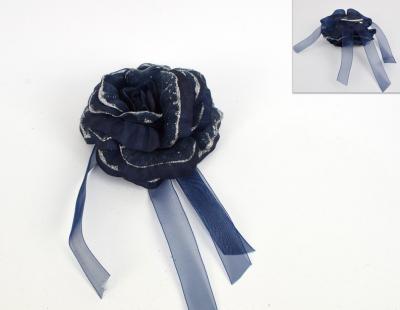 Rosa pinzettata Blu e Argento brillantinato