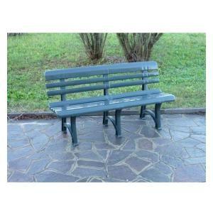 Panchina sedile in plastica colore verde per uso esterno/interno 152 cm