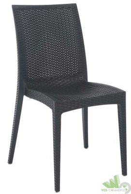 Sedia per esterno resina effetto rattan bistrot antracite 57x50xh89 intrecciata