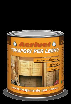 Fondo turapori per legno trasparente a base d'acqua per interni 750ml Veleca