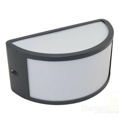 Applique da esterno mezzaluna alluminio ip44 attacco e27 lampada da parete muro