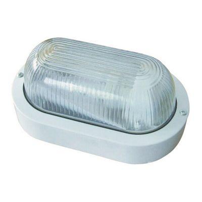 Applique da esterno ovale bianco vetro lampada da parete soffitto muro