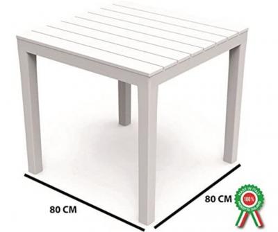Tavolo in resina plastica quadrato per esterno da giardino 80x80xh72cm bianco