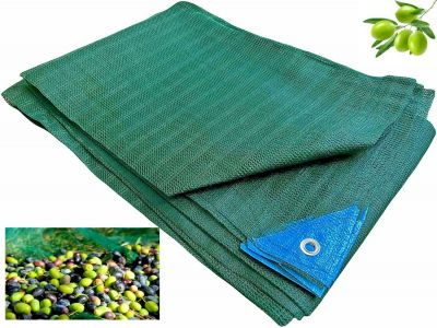 Telo Antispina Rete per raccolta Olive 10X10 mt - 90 gr/mq CON Apertura Colore Verde con Angoli Rinforzati
