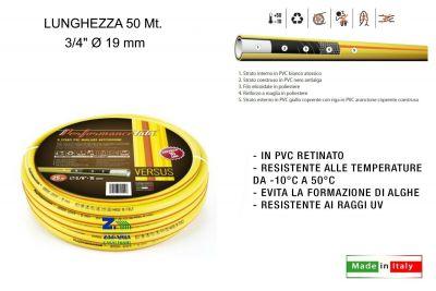 """tubo 3/4"""" irrigazione giardino acqua versus 5 strati giallo ø 19 mm x 50 metri"""