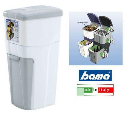 Triplo Contenitore per la separazione dei rifiuti bidone Pattumiera-BIANCO