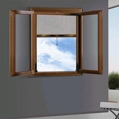 Zanzariera a rullo per porta finestra Orizzontale 140x160 alluminio riducibile marrone