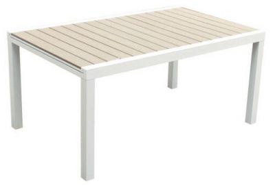 Tavolo in polylegno e alluminio bianco mobili arredo giardino esterno 160X100X75 cm