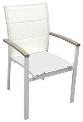 Sedia da giardino bianca in alluminio con braccioli 55 x 48 x 85 cm