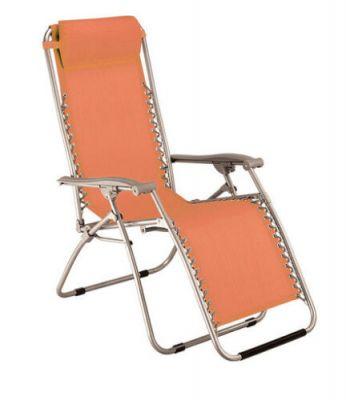 Sdraio VIRTUS arancione con braccioli lettino reclinabile pieghevole da giardino per mare piscina