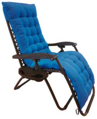 """Sedia a sdraio blu con cuscino """"Zero Gravity"""" reclinabile, in acciaio, poltrona ideale per esterno e giardino"""