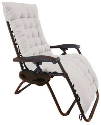 """Sedia a sdraio grey con cuscino """"Zero Gravity"""" reclinabile, in acciaio, poltrona ideale per esterno e giardino"""