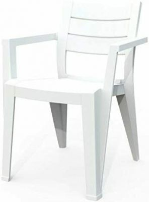 Sedia Julie impilabile in polipropilene effetto legno bianco per uso esterno