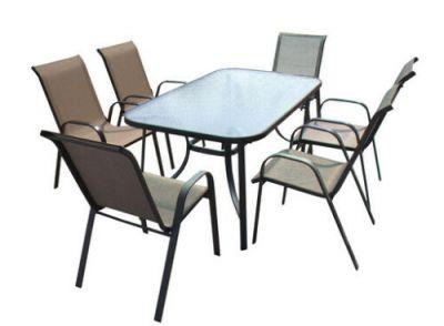 Tavolo sedie da giardino con base in vetro temperato struttura in acciaio 150cm