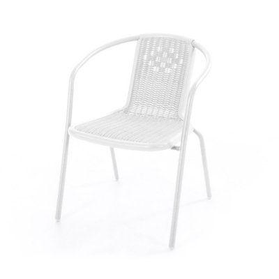 Sedia Ios bianca con braccioli con struttura in tubo di metallo verniciato e seduta/schienale in plastica stampata polyrattan
