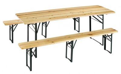 Set birreria rettangolare in legno 70x12x220 con tavolo e panche