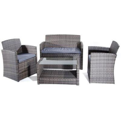 Salotto da giardino set Lipari con struttura in tubo di acciaio rivestito in polyrattan sintetico Divano, poltrone e tavolo con piano in vetro