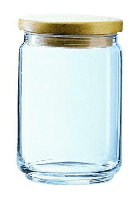 barattolo in vetro trasparente  con tappo in legno 1 lt