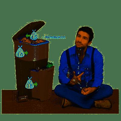 Triplo Contenitore per la separazione dei rifiuti bidone Pattumiera-Tortora