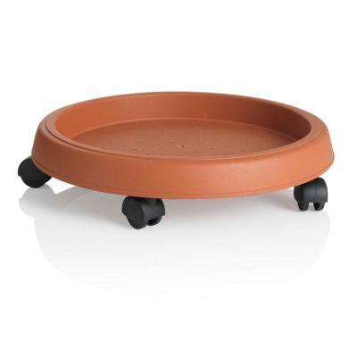 Bama sottovaso sotto vaso tondo con ruote in plastica terracotta 35 cm